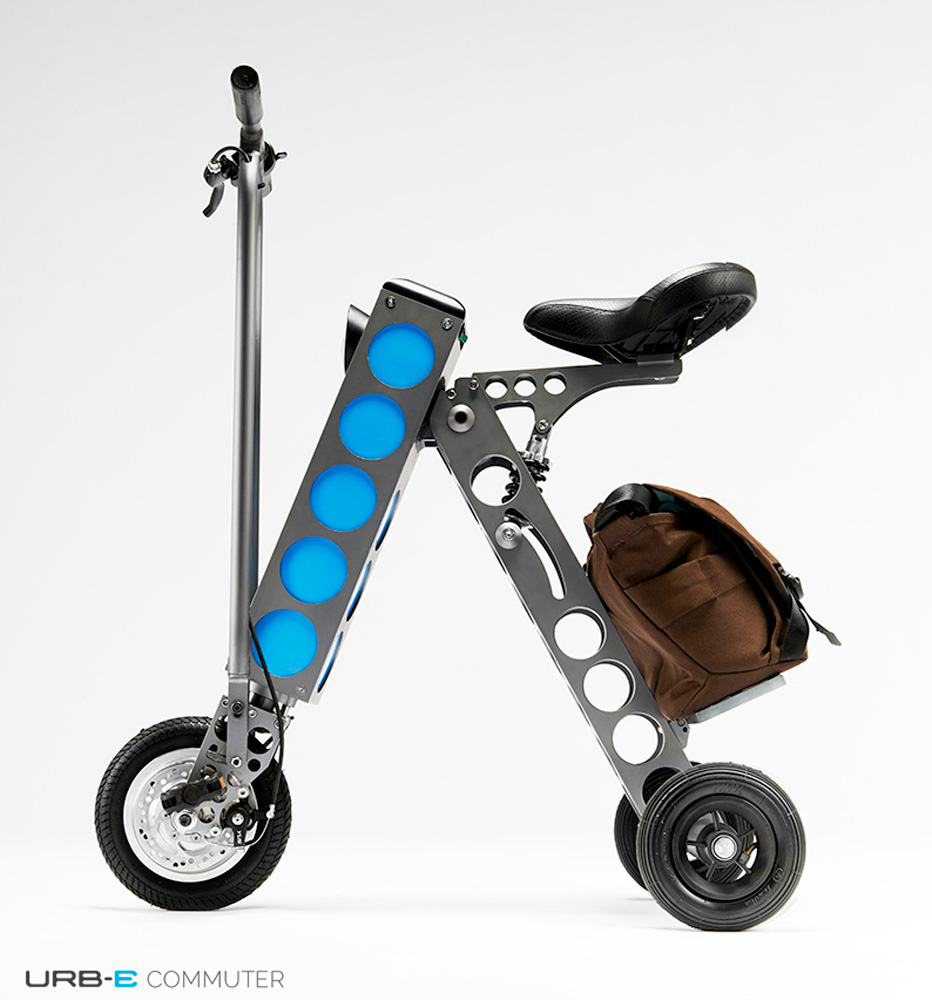 URB-E, foldable seated scooter, electric seated foldable scooter