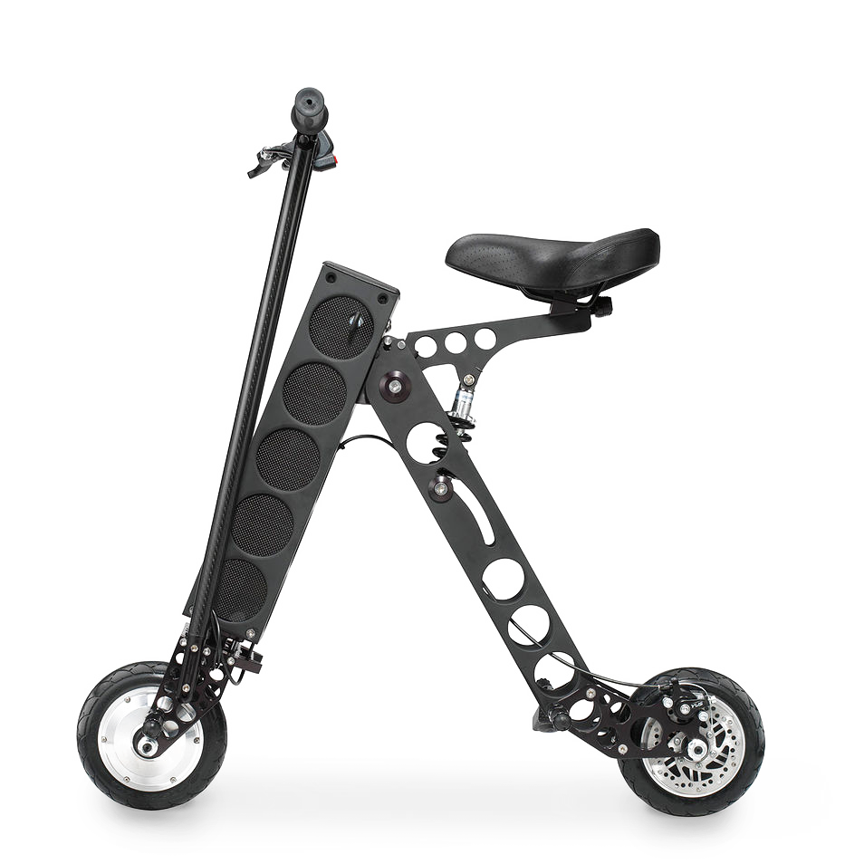 URB-E, foldable seated scooter, electric seated foldable scooter, transparent